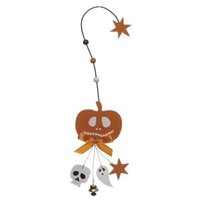 Pumpkin Hanger Hook with Skull, Ghost and Bell