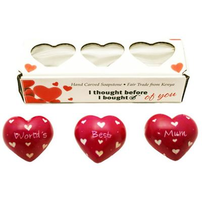 World's Best Mum Set of 3 Hearts in Gift Box