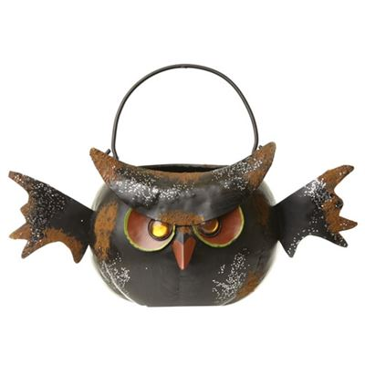 Black Owl Candle Holder