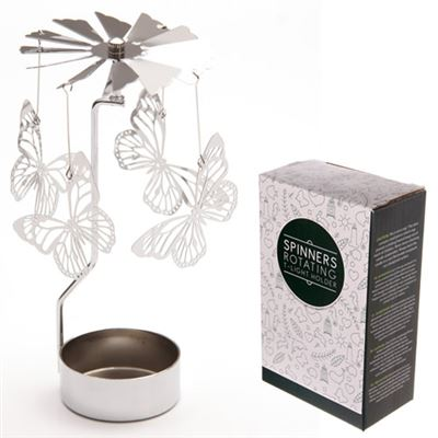 Butterfly Candle Spinner Silver