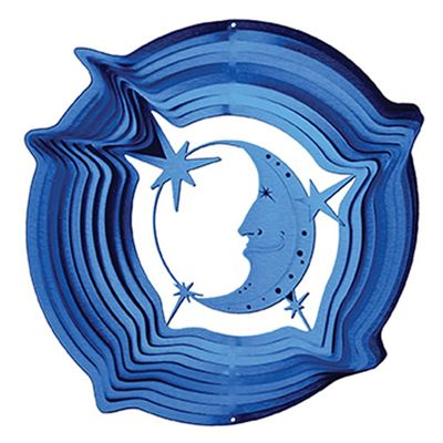 Moon & Star Blue Wind Spinner Large
