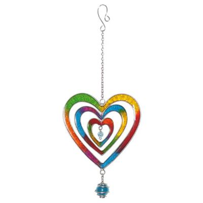 Multicoloured Heart Suncatcher with Glass Ball