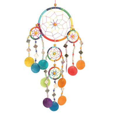 Rainbow Dream Catcher with Mirrors and Shells