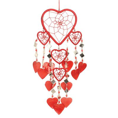 Red Hearts Dream Catcher with Mirrors and Shells
