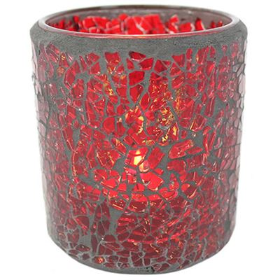 Red Mosaic Candle Holder Large