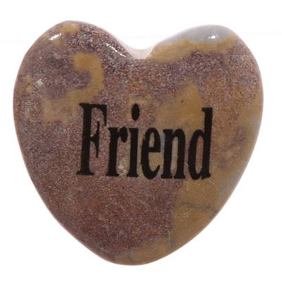 Friend Heart Shaped Worry Stone in Drawstring Pouch