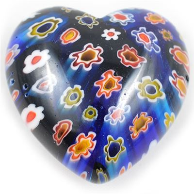 Blue Glass Heart with Flowers