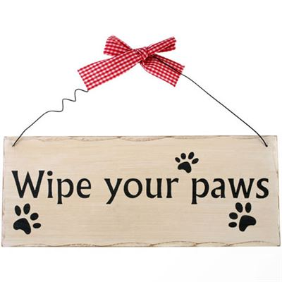 Wipe Your Paws Shabby Plaque