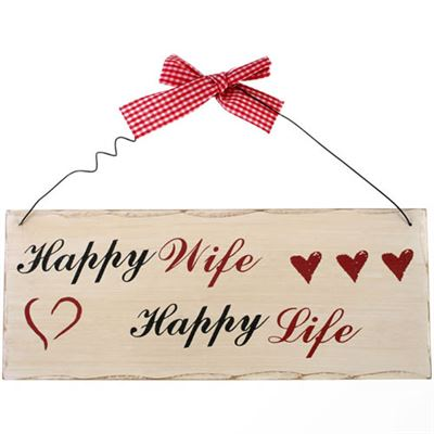 Happy Wife Happy Life Shabby Plaque
