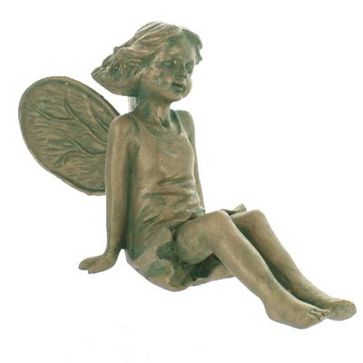 Sitting Garden Fairy Weathered Green